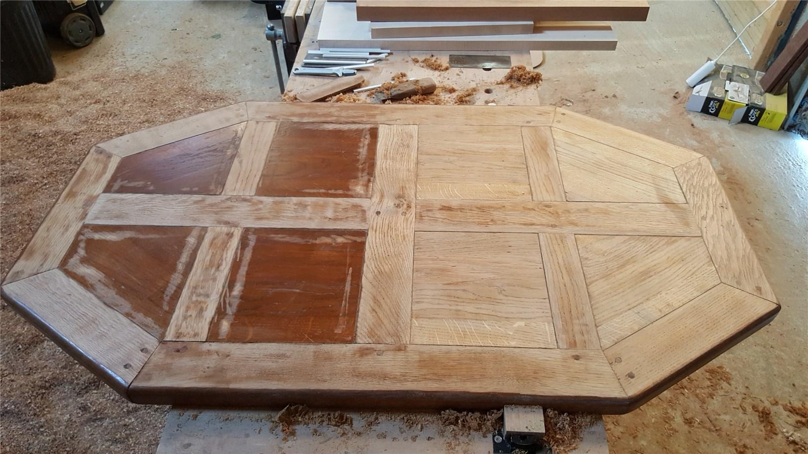 r novation d 39 une table basse en ch ne grabouille artisan du bois. Black Bedroom Furniture Sets. Home Design Ideas